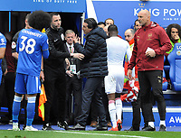 Football - 2018 / 2019 Premier League - Leicester City vs. Arsenal<br /> <br /> Arsenal Manager, Unai Emery complains to the referee as Ainsley Maitland - Niles walks off after being sent off by Referee, Michael Oliver, at King Power Stadium.<br /> Steve Bould (right)<br /> <br /> COLORSPORT/ANDREW COWIE