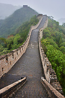 steps on the great wall in the mist  China