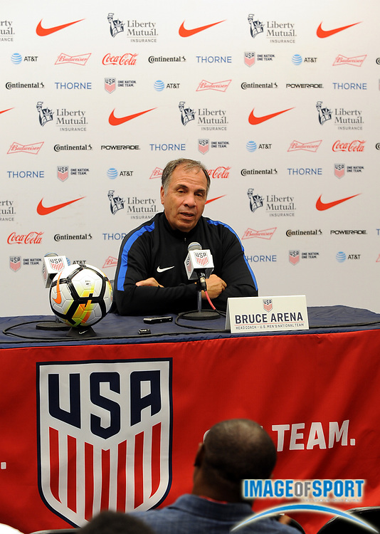 June 30, 2017; East Hartford, CT, USA;  United States coach Bruce Arena speaks to the media before a training session at Rentschler Field. Photo by Reuben Canales