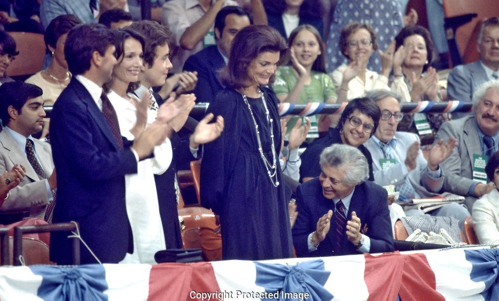 Jackie Kennedy receives applause at the Democratic Convention in 1976...Photograph by Dennis Brack bs b 17