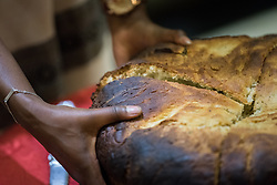23 October 2019, Addis Ababa, Ethiopia: A large loaf of traditional Ethiopian bread, baked in banana leaves. By tradition, the bread is cut by an elder and a young person, to then be shared with the whole community. Gathered in Addis Ababa from 23-27 October 2019, Lutherans from across the globe join in consultation under the theme of 'We believe in the Holy Spirit: Global Perspectives on Lutheran Identities'. Hosted by the Ethiopian Evangelical Church Mekane Yesus, the consultation is the first phase of a study process on Lutheran identities.