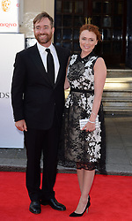 Keeley Hawes with Matthew Macfadyen arrives for the BAFTA TV Awards at the Theatre Royal, London, United Kingdom. Sunday, 18th May 2014. Picture by Andrew Parsons / i-Images