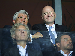 August 15, 2018 - Tallinn, Estonia - FIFA President, Gianni Infantino (R) in conversation during the UEFA Super Cup between Real Madrid and Atletico Madrid at Lillekula Stadium on August 15, 2018 in Tallinn, Estonia. (Credit Image: © Raddad Jebarah/NurPhoto via ZUMA Press)
