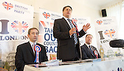 British National Party election manifesto launch for the May 3 London Assembly elections in East London, Great Britain <br /> 9th April 2012 <br /> <br /> <br /> Carlos Cortiglia <br /> mayor of London candidate for the BNP <br /> <br /> Nick Griffin - chairman / leader of the BNP <br /> <br /> Stephen Squire <br /> candidate and Regional Organiser for the whole of London<br /> <br /> <br /> Photograph by Elliott Franks