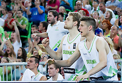 Jaka Blazic of Slovenia and Aleksej Nikolic of Slovenia react during friendly basketball match between National Teams of Slovenia and Brasil at Day 2 of Telemach Tournament on August 22, 2014 in Arena Stozice, Ljubljana, Slovenia. Photo by Vid Ponikvar / Sportida