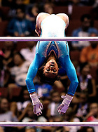 Margzetta Frazier competes on the uneven bars during senior women's opening round of the U.S. gymnastics championships, Sunday, Aug. 20, 2017, in Anaheim, Calif.