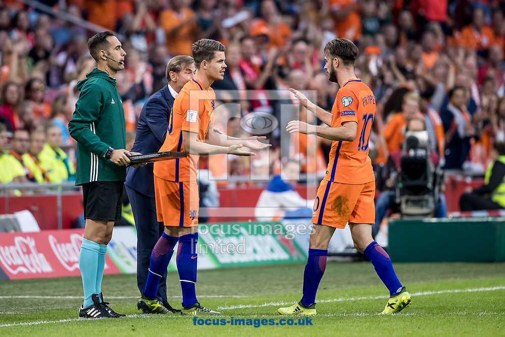 Davy Propper of Netherlands (R) goes out, Marco van Ginkel of Netherlands (M) comes in during the 2018 FIFA World Cup Qualifying match at Amsterdam Arena, Amsterdam<br /> Picture by Joep Joseph Leenen/Focus Images Ltd +316 5261929<br /> 03/09/2017<br /> ***NETHERLANDS OUT***