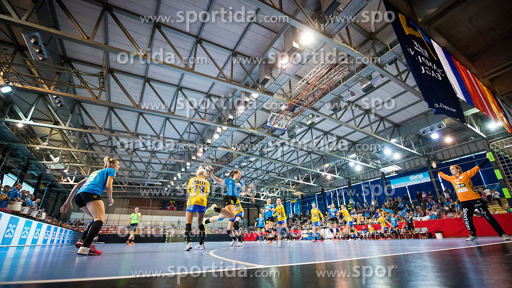 Tjasa Stanko of RK Krim Mercator vs Mie Soerensen of NFH Nykobing Falster during handball match between RK Krim Mercator and NFH - Nykobing Falster in Group Matches of Women's EHF Champions League 2017/18, on October 14, 2017 in Arena Kodeljevo, Ljubljana, Slovenia.