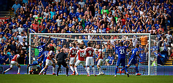 CARDIFF, WALES - Sunday, September 2, 2018: Cardiff City's Danny Ward (right) scores the second equalising goal to level the score at 2-2 during the FA Premier League match between Cardiff City FC and Arsenal FC at the Cardiff City Stadium. (Pic by David Rawcliffe/Propaganda)