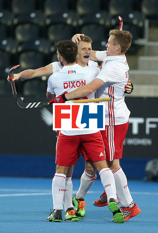 LONDON, ENGLAND - JUNE 20: Sam Ward of England celebrates scoring his sides third goal with his England team mates during the Pool A match between England and South Korea on day six of the Hero Hockey World League Semi-Final at Lee Valley Hockey and Tennis Centre on June 20, 2017 in London, England.  (Photo by Alex Morton/Getty Images)