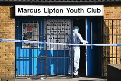 © Licensed to London News Pictures. 22/02/2019. London, UK. Police forensics at The scene where a 23 year old man has been stabbed to death at Marcus Lipton youth club in Brixton, South London. Photo credit: Ben Cawthra/LNP