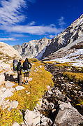 Backpackers on the Mount Whitney Trail, John Muir Wilderness, California USA