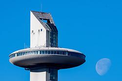 February 5, 2018 - Pyeongchang, SOUTH KOREA - 180205 The moon is seen beside the tower of Alpensia Ski Jumping Centre ahead of the 2018 Winter Olympics on February 5, 2018 in Pyeongchang..Photo: Jon Olav Nesvold / BILDBYRN / kod JE / 160137 (Credit Image: © Jon Olav Nesvold/Bildbyran via ZUMA Press)