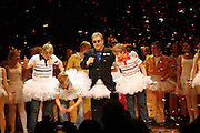 Sir Elton John joins cast members Liam Mower, James Lomas and George McGuire on stage as  Billy Elliot the Musical celebrates First Birthday. Victoria Palace Theatre. 12 May 2006. ONE TIME USE ONLY - DO NOT ARCHIVE  © Copyright Photograph by Dafydd Jones 66 Stockwell Park Rd. London SW9 0DA Tel 020 7733 0108 www.dafjones.com