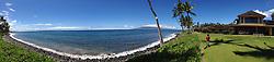 Maui Channel from Puamana (Panorama(, Lahaina, Maui, Hawaii, US