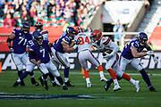 Cleveland Browns Middle Linebacker Joe Schobert (53) intercepts the ball during the International Series match between Cleveland Browns and Minnesota Vikings at Twickenham, Richmond, United Kingdom on 29 October 2017. Photo by Jason Brown.