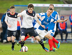 Falkirk's Blair Alston and Cowdenbeath's Aaron Lynas.<br /> half time : Cowdenbeath 0 v 0 Falkirk, Scottish Championship game today at Central Park, the home ground of Cowdenbeath Football Club.<br /> &copy; Michael Schofield.
