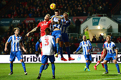 Aden Flint of Bristol City challenges for the header with Shane Duffy of Brighton & Hove Albion - Mandatory by-line: Dougie Allward/JMP - 05/11/2016 - FOOTBALL - Ashton Gate - Bristol, England - Bristol City v Brighton and Hove Albion - Sky Bet Championship