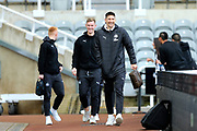 Fabian Schar (#5) of Newcastle United arrives ahead of the Premier League match between Newcastle United and Bournemouth at St. James's Park, Newcastle, England on 9 November 2019.