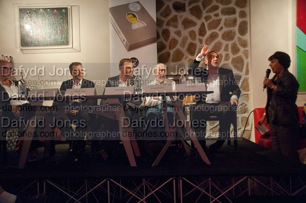 CARSTEN HOLLER; VINCENTE TODOLI; ADRIAN SEARLE; RICHARD HAMILTON; FERRAN ADRIA. The Launch of Food for thought, Thought for Food, The Creative Universe of El Bulli's Ferran Adria. Edited by Richard Hamilton and Vincente Todoli. The double Club, 7 Torrens st. London EC1. 22 June 2009