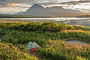 A tent in campground at the McNeil River State Game Sanctuary at sunset on the Kenai Peninsula, Alaska. The remote site is accessed only with a special permit and is the world's largest seasonal population of brown bears in their natural environment.