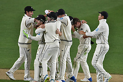March 26, 2018 - Auckland, Auckland, New Zealand - Blackcaps celebrate taking wicket of James Anderson during Day Five of the First Test match between New Zealand and England at Eden Park in Auckland on Mar 26, 2018. Blackcaps win by an inners and 48 runs (Credit Image: © Shirley Kwok/Pacific Press via ZUMA Wire)
