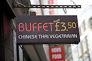 Chinese Thai vegetarian buffet sign from £3.50, Soho, London, England