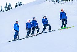 10.01.2020, Streif, Kitzbühel, AUT, FIS Weltcup Ski Alpin, Schneekontrolle durch die FIS, im Bild v.l. Hannes Trinkl (FIS Renndirektor), Herbert Hauser (Pistenchef Streif), Thomas Voithofer (Rennstrecken Begrenzungen), Christian Schroll (Pistenchef Ganslern), Jan Überall (KSC) // f.l. Hannes Trinkl FIS Racedirector Herbert Hauser slope Manager Streif Thomas Voithofer racetrack boundary Christian Schroll slope Manager Ganslern and Jan Überall (KSC) during snow control by the FIS for the FIS ski alpine world cup at the Streif in Kitzbühel, Austria on 2020/01/10. EXPA Pictures © 2020, PhotoCredit: EXPA/ Stefan Adelsberger