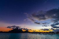 Mt. Otemanu and overwater bungalows at Four Seasons Resort Bora Bora, Bora Bora, Society Islands, French Polynesia.