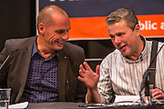Yanis Varoufakis & Mark Serwotka, chatting at the PCS public fringe meeting at TUC congress 2015. Fighting for our future: There is an alternative to austerity.