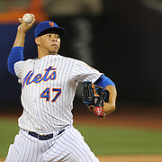 Pitcher Hansel Robles, New York Mets, pitching during the New York Mets Vs Washington Nationals. MLB regular season baseball game at Citi Field, Queens, New York. USA. 1st August 2015. (Tim Clayton for New York Daily News)