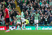 14th October 2017, Celtic Park, Glasgow, Scotland; Scottish Premiership football, Celtic versus Dundee; Celtic's Olivier Ntcham celebrates after scoring the only goal of the game for 1-0