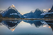 Sunrise over Mitre Peak, Milford Sound, Fiordland, New Zealand