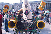 Customised sound system. First Criminal Justice March.Trafalgar Square, London, UK, 1st of May 1994.