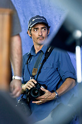03 May 2015. New Orleans, Louisiana.<br /> The New Orleans Jazz and Heritage Festival. <br /> Chris Granger behind the scenes on the gentilly stage. <br /> Photo; Charlie Varley/varleypix.com