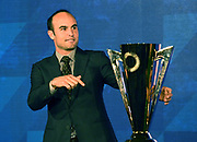 Landon Donovan poses with the Gold  Up trophy during CONCACAF Gold Cup groups unveiling news conference, Wednesday, April 10, 2019, in Los Angeles.