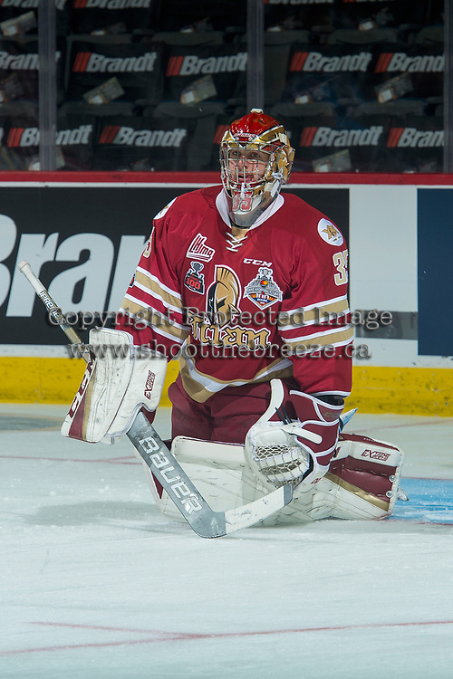REGINA, SK - MAY 19: Evan Fitzpatrick #31 of Acadie-Bathurst Titan warms up against the Swift Current Broncos at the Brandt Centre on May 19, 2018 in Regina, Canada. (Photo by Marissa Baecker/CHL Images)