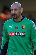 Heurelho Gomes of Watford wears a shirt embroidered with a poppy to mark the 100th anniversary of the start of WWI during the Sky Bet Championship match at Vicarage Road, Watford<br /> Picture by David Horn/Focus Images Ltd +44 7545 970036<br /> 01/11/2014
