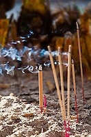 Incense burning at a Chinese Temple in Kuching, Sarawak.