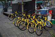 Yellow bicycles from the bike rental company OFO are parked in a side street in Shoreditch, on 30th October 2017, in London, England. OFO UK launched a pilot scheme in Cambridge in April 2017 to signal the arrival of non-docking bike share in the UK.