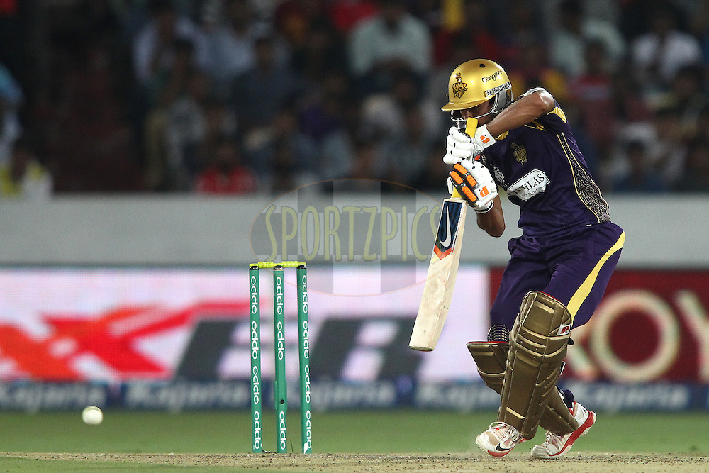 Manish Pandey of the Kolkata Knight Riders plays a delivery square during the first semi final match of the Oppo Champions League Twenty20 between the Kolkata Knight Riders and the Hobart Hurricanes held at the Rajiv Gandhi Cricket Stadium, Hyderabad, India on the 2nd October 2014<br /> <br /> Photo by:  Shaun Roy / Sportzpics/ CLT20<br /> <br /> <br /> Image use is subject to the terms and conditions as laid out by the BCCI/ CLT20.  The terms and conditions can be downloaded here:<br /> <br /> http://sportzpics.photoshelter.com/gallery/CLT20-Image-Terms-and-Conditions-2014/G0000IfNJn535VPU/C0000QhhKadWcjYs