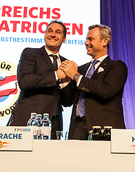 04.03.2017, Messe, Klagenfurt, AUT, FPÖ, 32. Ordentlicher Bundesparteitag, im Bild v.l.n.r. Bundesparteiobmann Heinz Christian Strache und Norbert Hofer // at the 32nd Ordinary Party Convention of the Freiheitliche Partei Oesterreich (FPÖ) in Klagenfurt, Austria on 2017/03/04. EXPA Pictures © 2017, PhotoCredit: EXPA/ Wolgang Jannach