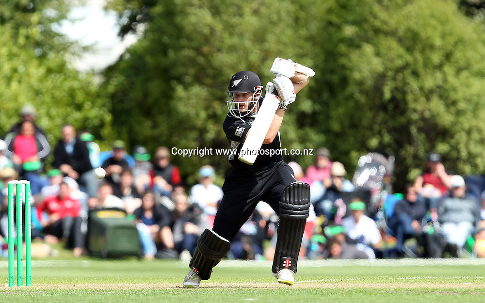 Kane Williamson plays onto the onside for New Zealand.<br /> New Zealand v Zimbabwe, 1st ODI, 3 February 2012, University Oval, Dunedin, New Zealand.<br /> Photo: Rob Jefferies/PHOTOSPORT