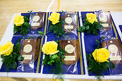 Awards during trophy ceremony after handball match between RK Celje Pivovarna Lasko and RK Gorenje Velenje in Last Round of 1. Liga NLB 2016/17, on June 2, 2017 in Arena Zlatorog, Celje, Slovenia. Photo by Vid Ponikvar / Sportida