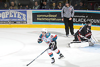 KELOWNA, CANADA - FEBRUARY 18: Shane McColgan #18 of the Kelowna Rockets celebrates a goal on the net of Deven Dubyk #33 of the Red Deer Rebels at the Kelowna Rockets on February 18, 2012 at Prospera Place in Kelowna, British Columbia, Canada (Photo by Marissa Baecker/Shoot the Breeze) *** Local Caption ***