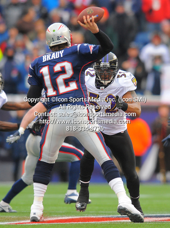 Jan. 22, 2012 - Foxborough, Maryland, U.S. - New England Patriots quarterback TOM BRADY gets a pass off despite the pressure of Baltimore Ravens inside linebacker RAY LEWIS in the first half of the AFC Championship.
