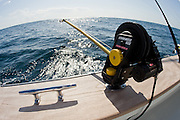 Rod holder mounted electric downrigger outfit.