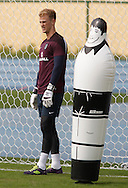 Joe Hart of England with an inflatable dummy during the England training session at Est&aacute;dio Claudio Coutinho, Rio de Janeiro, Brazil<br /> Picture by Andrew Tobin/Focus Images Ltd +44 7710 761829<br /> 21/06/2014