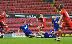 LIVERPOOL, ENGLAND - Friday, April 24, 2009: Liverpool's Lauri Dalla Valle scores the opening goal against Birmingham City during the FA Youth Cup Semi-Final 2nd Leg match at Anfield. (Pic by David Tickle/Propaganda)