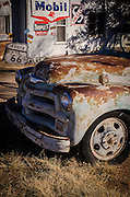 A vintage wrecker draws in visitors at the Tucumcari Trading Post, adding a touch of Americana to the old highway - U.S. Route 66. Tucumcari, New Mexico.